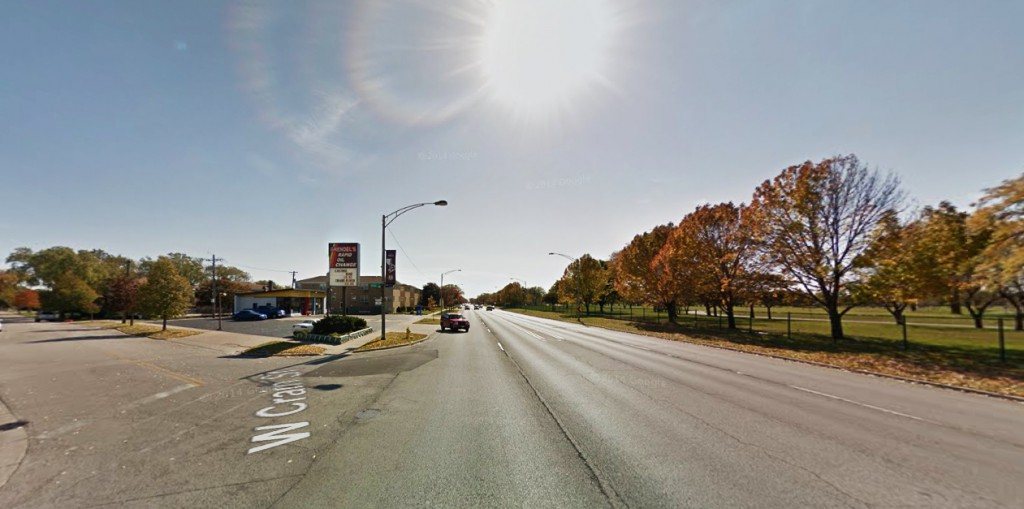 The objects were described as basketball-sized spheres, approximately five-times the size of the strobe lights on an airplane, with a shimmery white halo completely circling the sphere. Pictured: The 8700 block of North Milwaukee Avenue, Niles, Illinois. (Credit: Google)