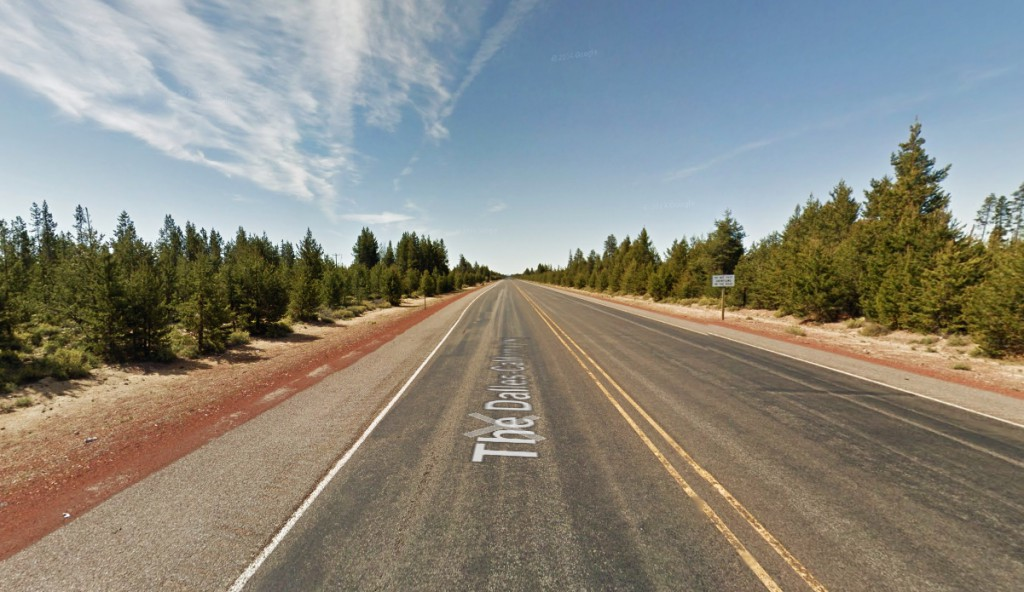 The object had a wing span between 25 and 50 feet. Pictured: Dalles-California Highway near Beaver Marsh, Oregon. (Credit: Google)