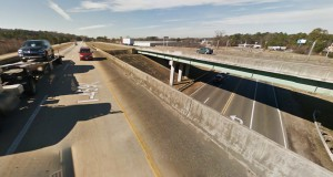 As the witness got closer, he could see that it was a black triangle craft with three white lights on each side. Pictured: I-459 at Morgan Road. (Credit: Google)