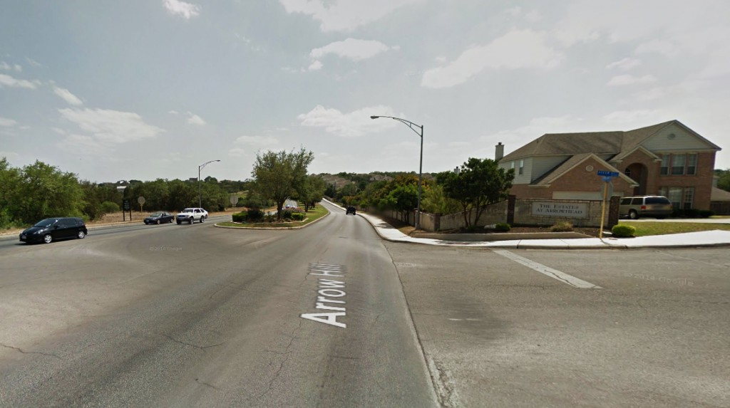 The witness was walking south on Stone Oak Parkway near the Arrow Hill Road intersection, pictured, when an 'extremely pure, brilliant white light' was seen in the sky. (Credit: Google)
