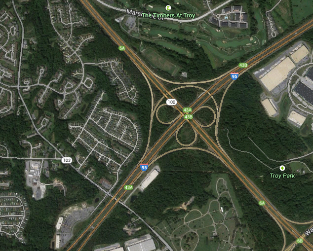 The triangle-shaped object seemed to slow down and then hovered over a group of nearby trees. (Credit: Google)