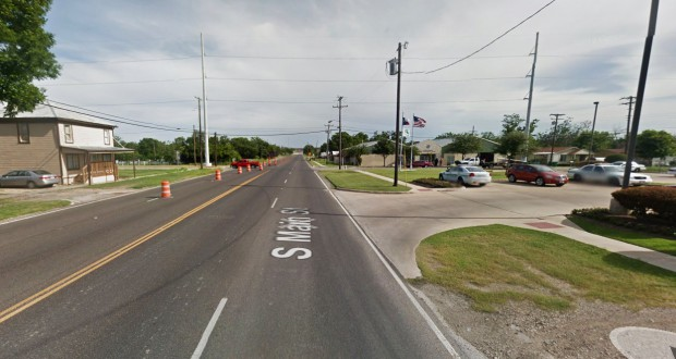 The witness noticed that the rectangle-shaped object was accompanied by a small, white, indistinct, round or oval object and a black helicopter. Pictured: Taylor, TX. (Credit: Google)