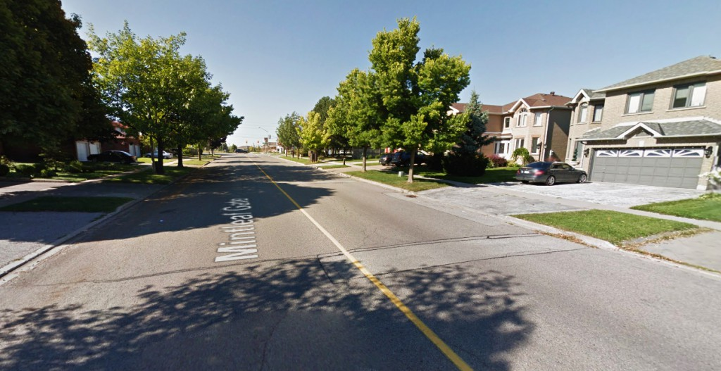 The witness said the object barely moved, although it did appear to be shaking or vibrating slightly. Pictured: Markham, Ontario, Canada. (Credit: Google)