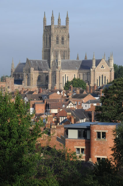 The first sighting was a star-like light speeding across the sky. Pictured: Worcester Cathedral from Fort Royal Hill. (Credit: Wikimedia Commons)
