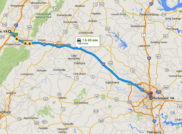 Staunton is 108 miles northwest of Richmond, Virginia. (Credit: Google Maps)