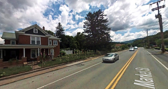 The witness eventually discovered four objects hovering nearby. Pictured: Peterstown, WV. (Credit: Google)