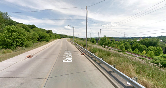 Two of the objects were described as being triangle-shaped. Pictured: Campbell, Ohio, along a stretch of roadway where the objects were seen. (Credit: Google)