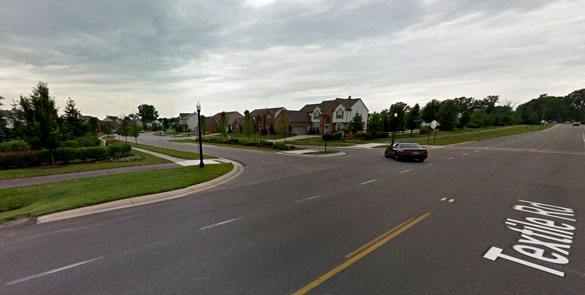 The intersection of Textile Road and Cherrywood Drive in Ypsilanti, MI. (Credit: Google)