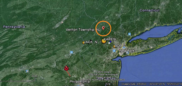 The sighting occurred in a camping area in Vernon, New Jersey, on September 15, 2014. (Credit: Google Maps)