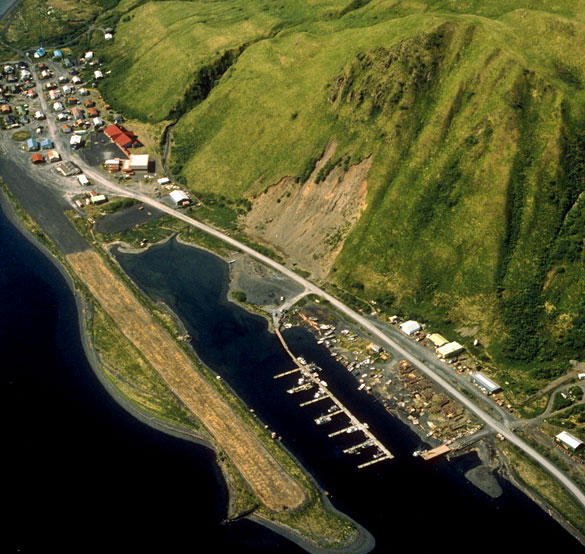 The witness first saw the object as three blinking lights and thought it might be a drone. Pictured: Old Harbor, Alaska. (Credit: Wikimedia Commons)