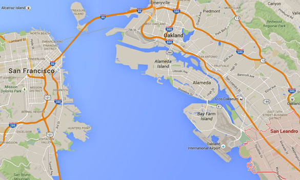 Several months earlier the couple had a UFO experience at the same location in San Leandro, CA. (Credit: Google Maps)