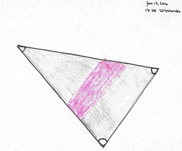 Detailed illustration of the triangle object seen over Omaha on January 13, 2016. (Credit: MUFON)