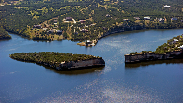 Possum Kingdom Lake, pictured, is a reservoir on the Brazos River. (Credit: Wikimedia Commons)