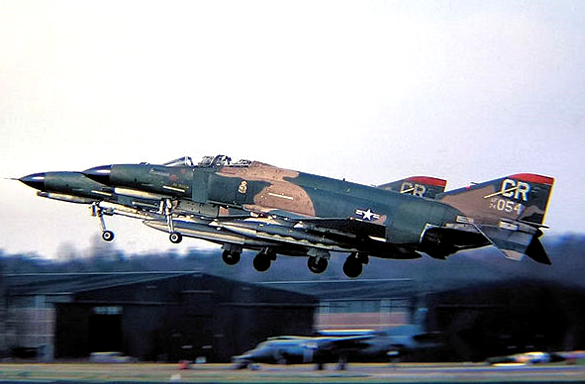 F-4E Phantom II of 32nd TFS taking off, around 1975, at Soesterberg Air Base. (Credit: Wikimedia Commons)