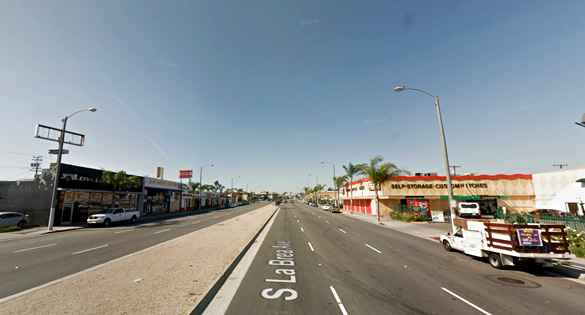 The triangle-shaped object made no noise. Pictured: Inglewood, California. (Credit: Google)
