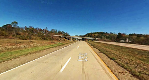 The witness said the UFO stopped a couple of times over Route 50 west in Athens. Pictured: A portion of Route 50 overlapping with Route 33 in Athens. (Credit: Google)