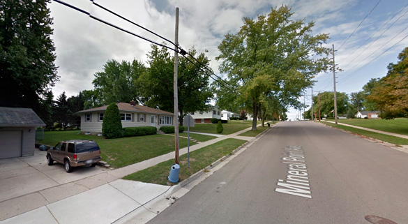 The object was hovering for about 30 seconds before it moved away quickly. Pictured: Janesville, WI. (Credit: Google)