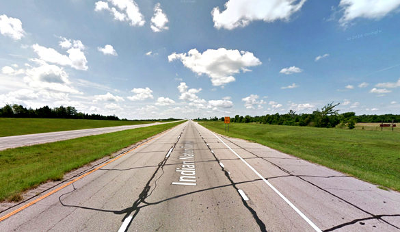 During the sighting, the object stopped and hovered. Pictured: Indian Nation Turnpike near Hugo, Oklahoma, pictured. (Credit: Google)