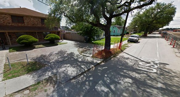 The object appeared to be made of a sold metallic. Pictured: Street scene in Jefferson, LA. (Credit: Google Maps)