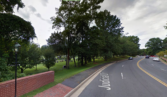 As the square-shaped UFO moved closer to the witnesses they noticed there were actually four bright lights, one at each corner, and a red light centered on the bottom of the object. Pictured: Fairfax, VA. (Credit: Google Maps)