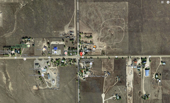 The object was hovering directly over power lines and a cattle grazing area. (Credit: Google)