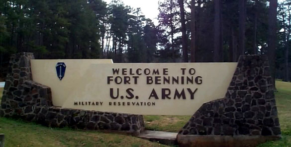 The witness heard the sound of the object just before seeing it. Pictured: Fort Benning, GA. (Credit: Google)