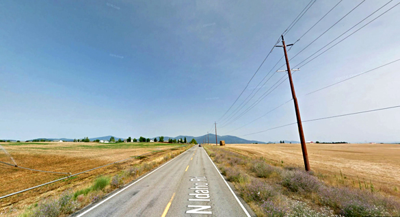 The witness saw a rectangle-shaped object falling from the sky over Post Falls, ID. (Credit: Google)