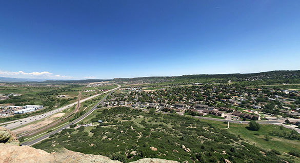 The objects moved in from the northwest and were headed southeast. Pictured: Castle Rock, CO. (Credit: Google)