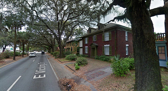 The object was about 75 above a two-story building. Pictured: Savannah, GA. (Credit: Google)