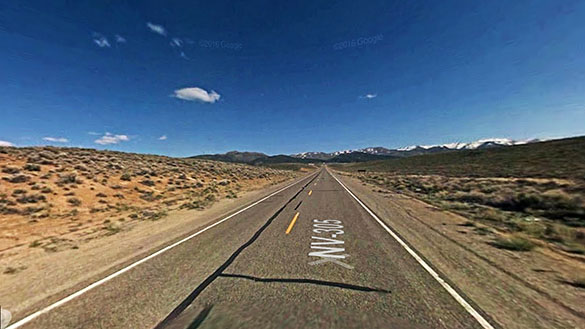 The object suddenly appeared to be larger and it began to rotate. Pictured: Near Austin, NV. (Credit: Google)
