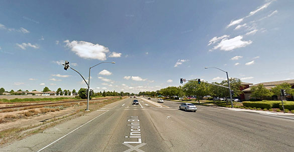 The object crossed the sky at an incredible rate of speed. Pictured: Lincoln, CA. (Credit: Google)