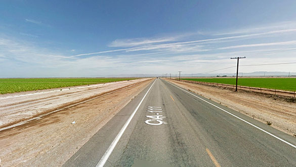 The object was observed at the tree top level. Pictured: Imperial County, CA. (Credit: Google)
