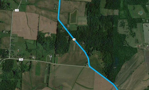The witness said the UFO hovered over their truck as they stopped along rural Route 56 between Sidney and London, Ohio. (Credit: Google Maps)