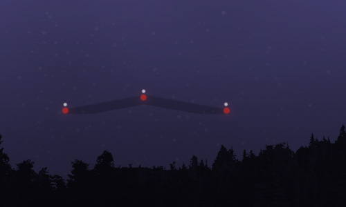 The witness provided this illustration of the object seen while driving in Burlington, Ontario, Canada, about 9:40 p.m. on August 10, 2014. (Credit: MUFON)