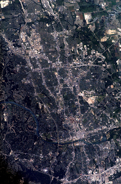 Austin, TX, as seen from the International Space Station.  (Credit: Wikimedia Commons)