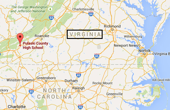 Virginia region where the UFO activity was reported. (Credit: Google Maps)