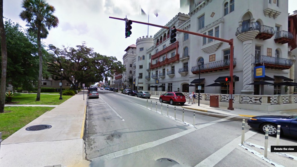 The object traveled slowly in plain sight and then just disappeared. Pictured: St. Augustine, FL. (Credit: Google)