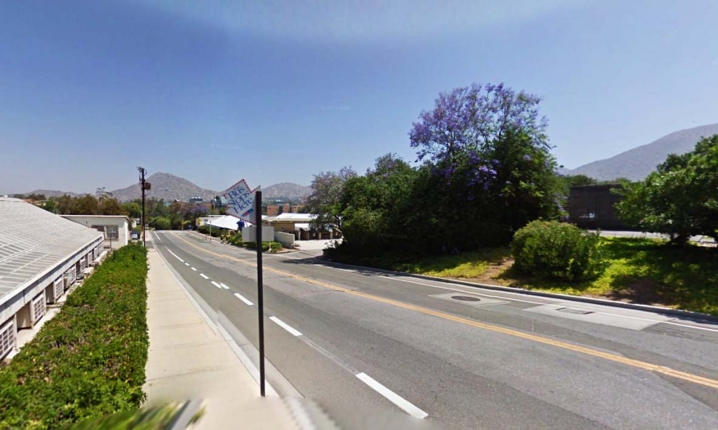 The witness said that the object did move away, but instead appeared to disappear into a 'doorway in the sky.' Pictured: Riverside, California. (Credit: Google)