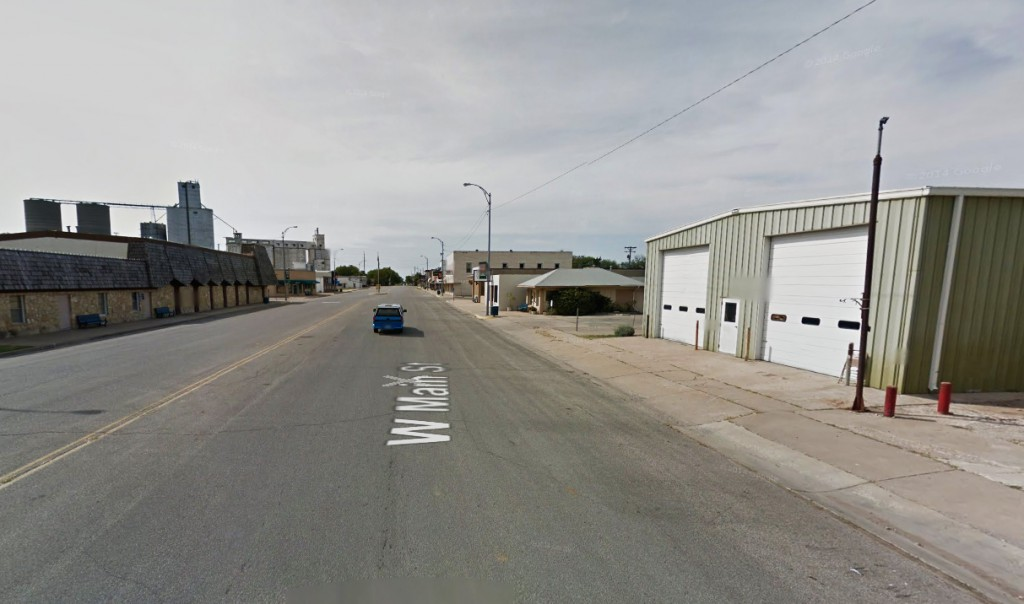 Main Street, Valley Center, Kansas, where the UFO image was taken on October 3, 2014. (Credit: Google)