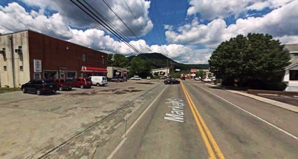 A witness in Peterstown, West Virginia, said her 'lights flickered and my cell phone was scrambled' as the UFO came into view. Pictured: Peterstown, West Virginia. (Credit: Google)