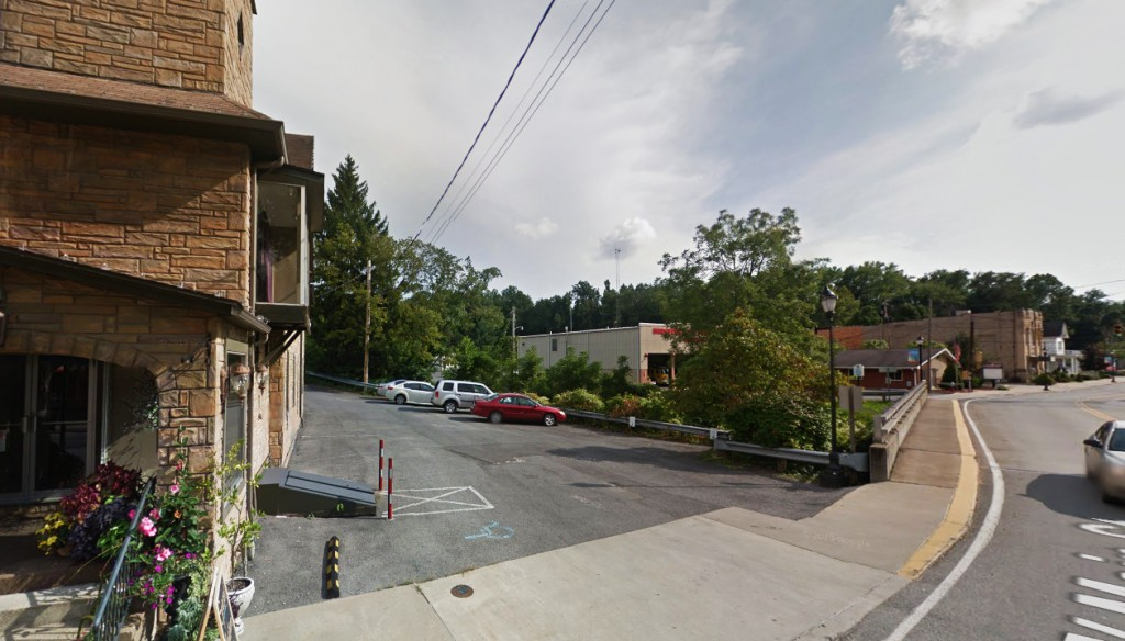 The witness was driving through downtown Grafton, West Virginia, between 8 and 9 p.m. on October 27, 2014, when the hovering object was first seen. Pictured: The Bridgeport Fire Department on the right side of this image. (Credit: Google)