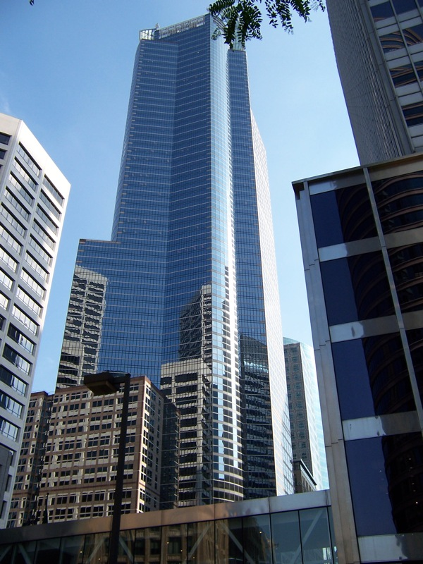 The witness first saw the object in a building's reflection. Pictured: The white U.S. Bancorp towers are reflected in the Capella Tower. (Credit: Wikimedia Commons)