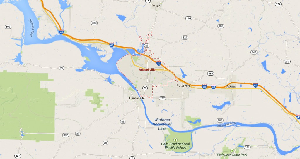 Russellville is about 75 miles northwest of Little Rock, Arkansas. (Credit: Google)