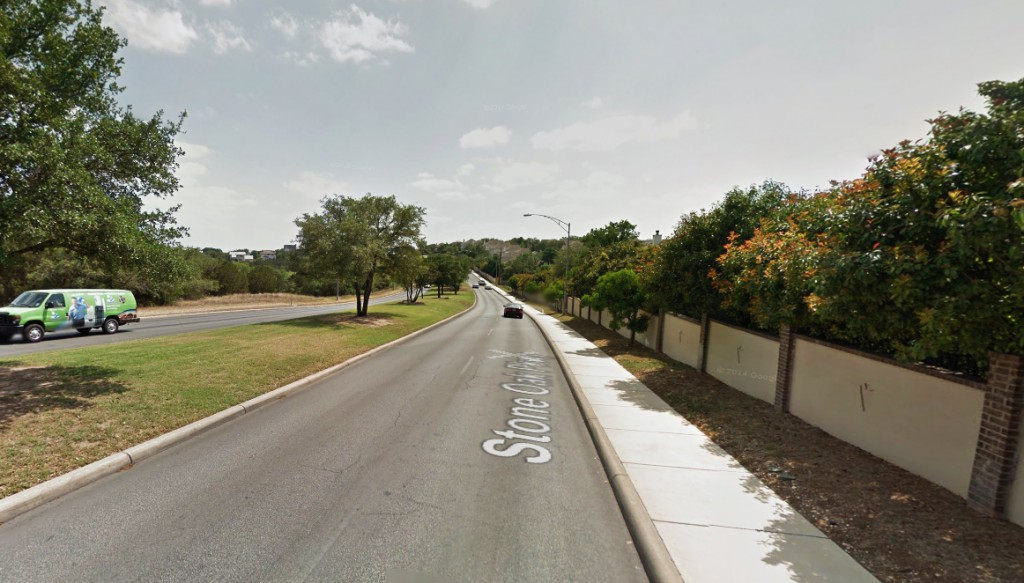 The object made no sound and the brilliant white lights remained as it continued southward and out of sight. Pictured: Stone Oak Parkway near the Arrow Hill Road intersection. (Credit: Google)