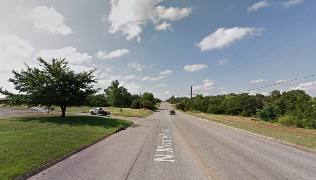 The larger object slowly moved away while the smaller object remained hovering and seemed to fade away. Pictured: Ada, OK. (Credit: Google)