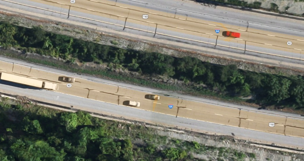 The witness entered onto SR 62 and saw first responder vehicles arriving from both directions and they quickly shut down the road. Twice the witness saw a first responder run across the road, up an embankment and into the area of an abandoned golf course. (Credit: Google)