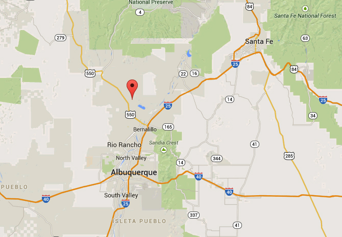 Santa Ana Pueblo is about 28 miles directly north of Albuquerque. (Credit: Google)