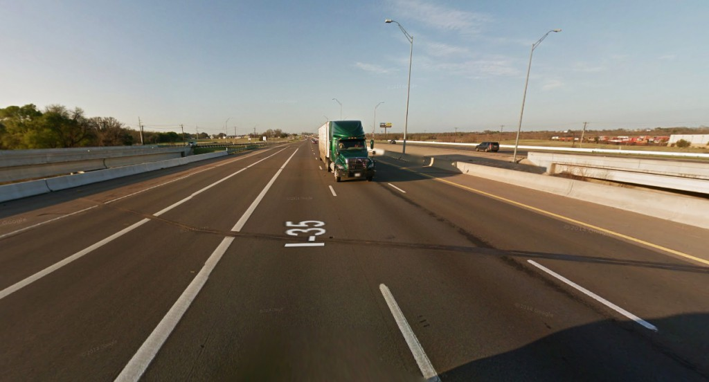 The witness said there was no discernible wings, tails, landing gear, propellers, jet engines, windows, or lights on the objects. Pictured: I-35 near Walburg, TX. (Credit: Google)