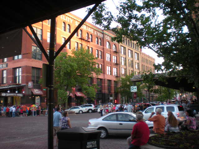 The witness said there were no blinking red or white lights on the objects, no apparent wings and no sound. Pictured: Omaha's Old Market in Downtown Omaha. (Credit: Wikimedia Commons)