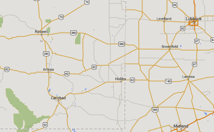 Hobbs, NM, is about 115 miles southeast of Roswell, NM. (Credit: Google)